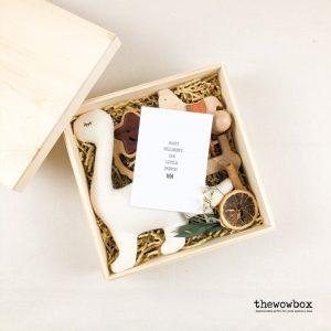 [Quà tặng bé] THE FIRST TOY BOX – Khủng long bông, bộ 2 xúc xắc, ngựa gỗ